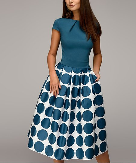 Blue &Amp; White Dot Pocket A Line Dress   Women &Amp; Plus by Ricco Bruno