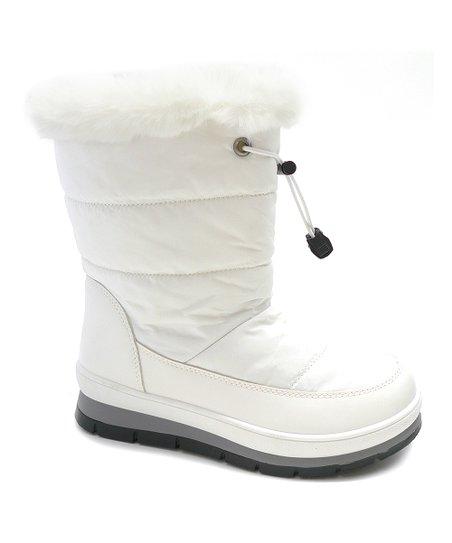 Wild Diva White Faux Fur-Trim Olaf Boot