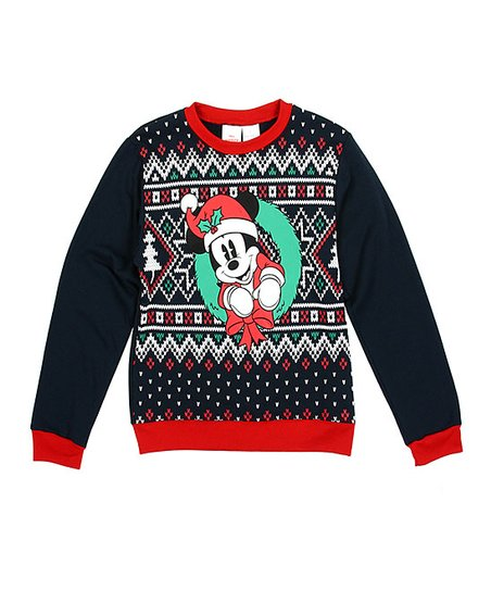 Disney Mickey Mouse with Christmas Wreath Womens Juniors Sweater Red