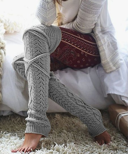 Gray Cable Knit Tie Back Leg Warmers   Women by Yifitek