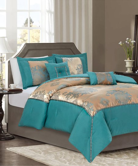 RT Designers Collection Teal & Gold Damask & Paisley Chasity Five