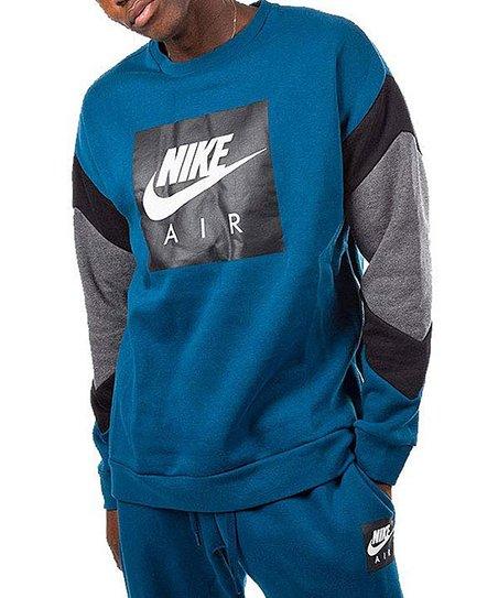 Nike Blue Force & Charcoal Air Fleece Crewneck Sweatshirt Men