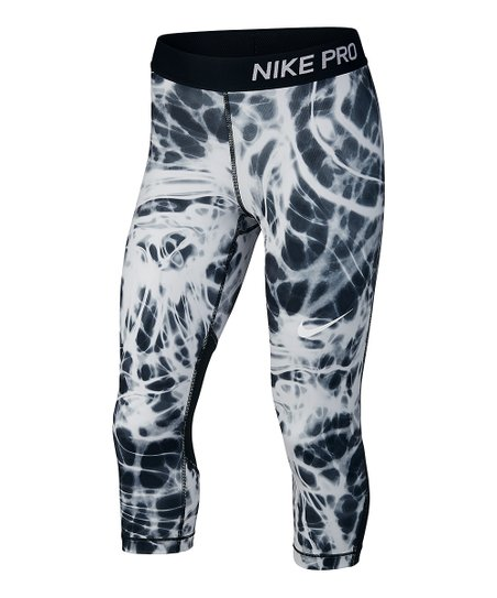 get new best sale hot sale online Nike Black & White Tie-Dye Dri-FIT Pro Capri Leggings - Girls