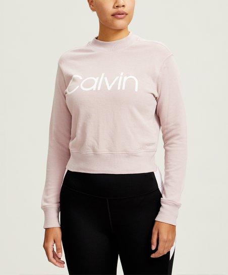 Calvin Klein Secret Blush Logo Mock Neck Sweatshirt Women