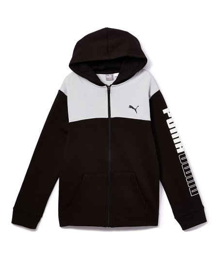 PUMA Puma Black & Light Gray Color Block Zip Up Hoodie
