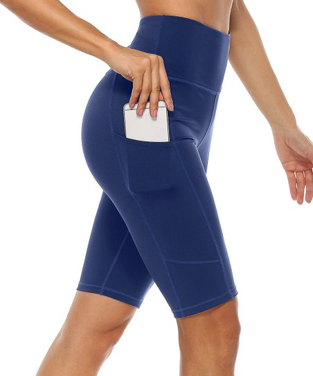 Charmo Navy Full-Compression Side-Pocket Yoga Shorts - Women | Zulily