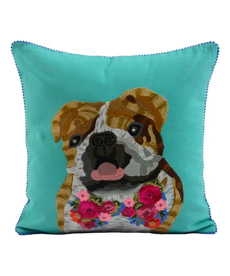 Karma Living Teal Brown Iconic Flower Dog Embroidered Throw Pillow Best Price And Reviews Zulily