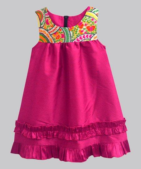 A T U N Fuchsia Scallop Flora Ruffle Trim Ashley Babydoll Dress