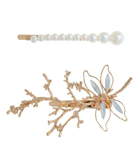 Amrita Singh Austrian Crystal Imitation Pearl Branch Dragonfly Coraline Hair Clip Set Zulily