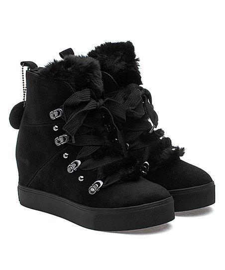 J/Slides Black Faux-Fur Whitney Suede