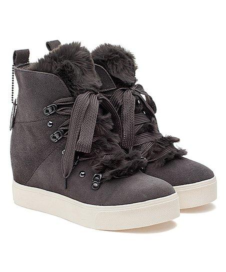 J/Slides Gray Faux-Fur Whitney Suede