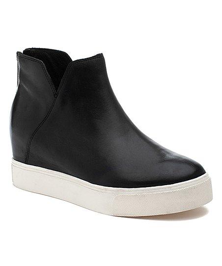 J/Slides Black Shea Leather Platform