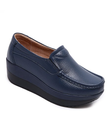 Miracle Navy Leather Platform Loafer