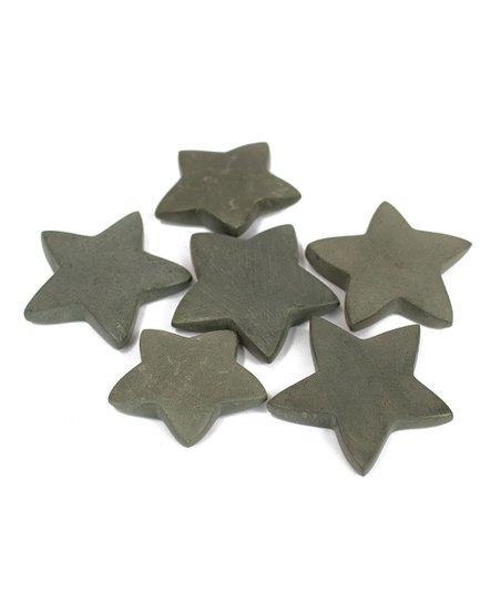 Light Grey Set of Six Hand Carved Stone Stars