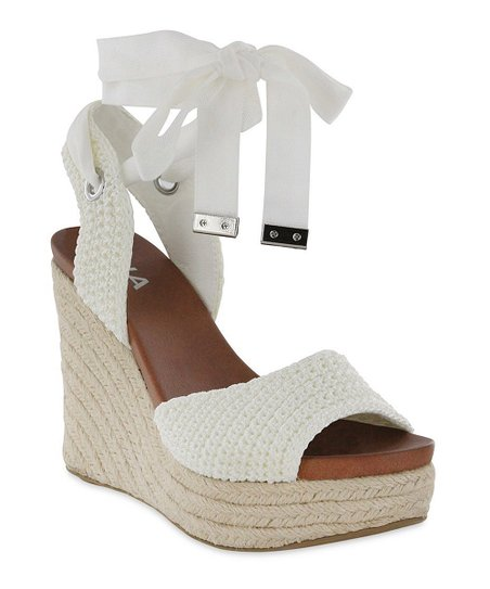 MIA Shoes White Yanet Espadrille Wedge