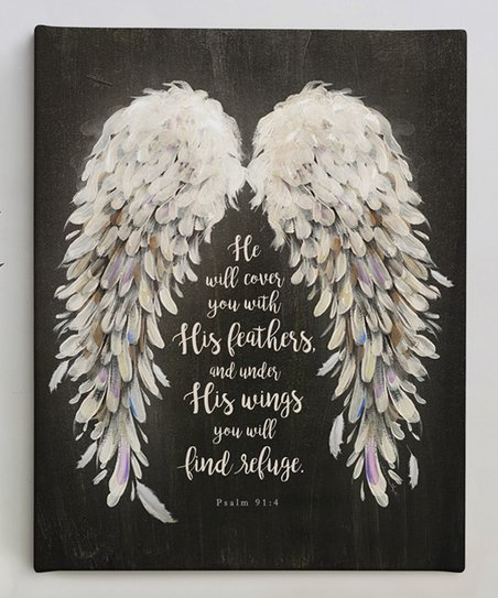 He Will Cover You With His Feathers Motivational Wall Art