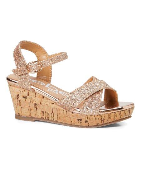 bebe girls Rose Gold Wedge Sandal