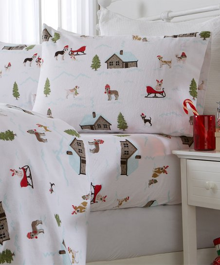 Great Bay Home White Winter Pups Christmas Flannel Sheet Set Best Price And Reviews Zulily