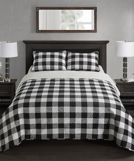 Dearfoams Black White Buffalo Check Quilt Set Best Price And Reviews Zulily