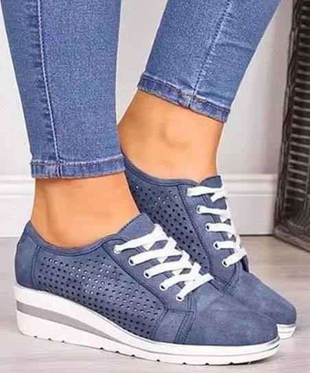 BUTITI Blue Wedge Sneaker - Women