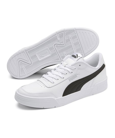 PUMA White & Black Caracal Leather Sneaker - Men | Zulily