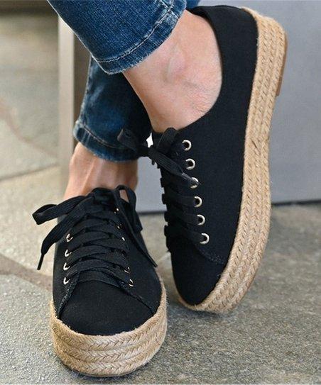 JUTI Black Espadrille Sneaker - Women