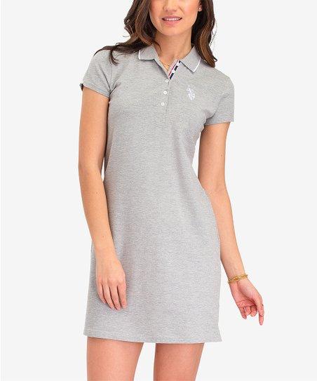 U.S. Polo Assn. Heather Gray Shirt Dress - Women