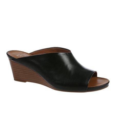 Franco Sarto Black Dublin Leather Wedge