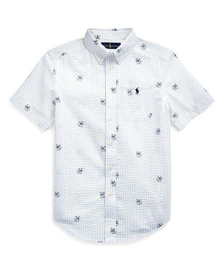 Polo Ralph Lauren White Anchor Seersucker Short Sleeve Button Up
