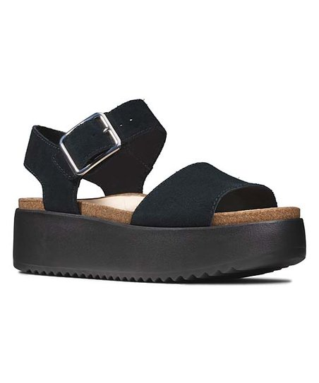 clarks black platform sandals