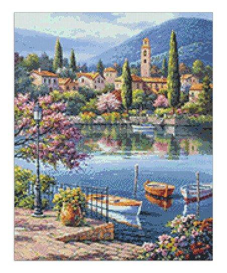 Blue Village Lake Afternoon DIY Rhinestone Painting Kit