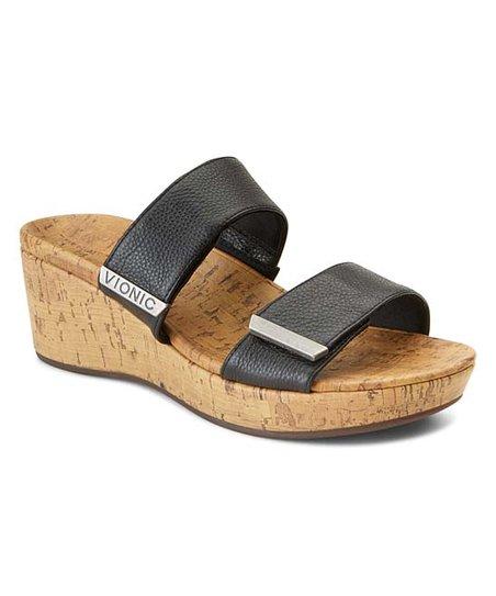 Vionic Black Pepper Leather Sandal