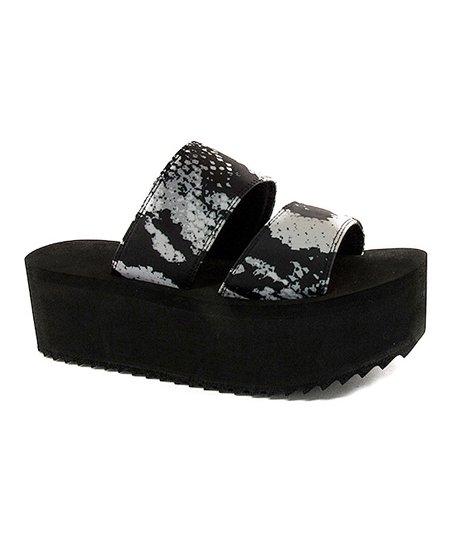 platform black strap sandals