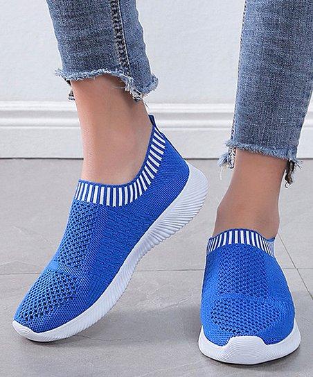 PAOTMBU Royal Blue \u0026 White Knit Slip-On