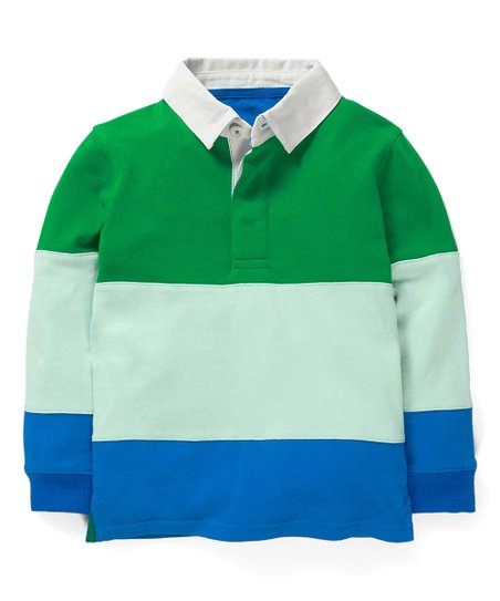Mini Boden Rich Emerald Green Bold Blue Stripe Rugby Polo Shirt Toddler Boys Best Price And Reviews Zulily