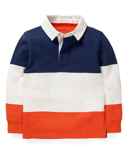 Mini Boden College Blue Orange Sunset Stripe Rugby Polo Shirt Toddler Best Price And Reviews Zulily