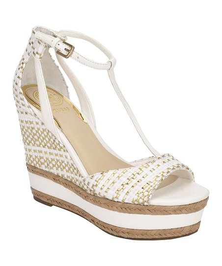 GUESS White \u0026 Gold Gace T-Strap Wedge