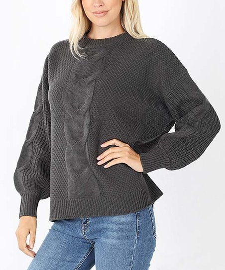 Ash Gray Cable Knit Balloon Sleeve Sweater Women