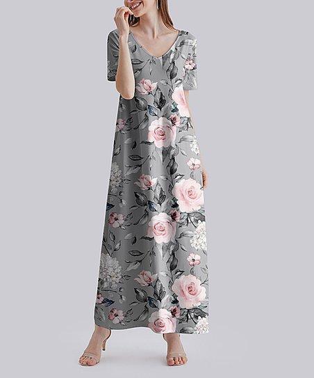 Grey Short Sleeve Floral Maxi Dress/_Plus