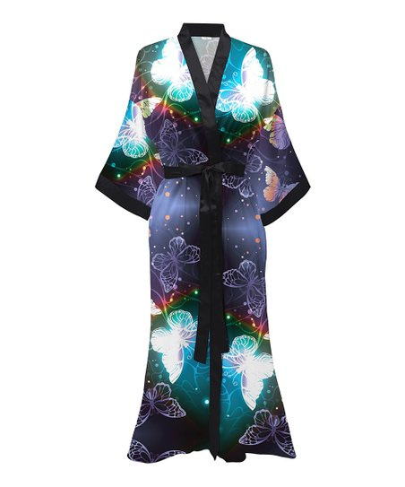 Pixielady Purple Blue Butterfly Galaxy Longline Satin Robe Women Plus Best Price And Reviews Zulily