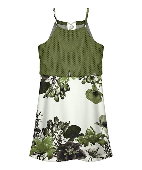 Lily Kids Green White Floral Sleeveless Blouson Dress Toddler Girls Best Price And Reviews Zulily
