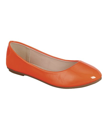 Neon Orange Patent Flexible Ballet Flat