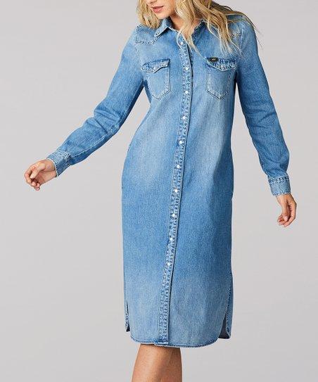 Lee Flint Hill Blue Vintage Modern Western Denim Midi Shirt Dress - Women