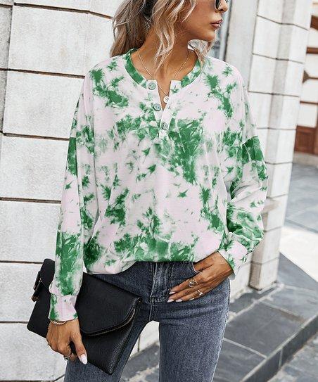 HAVANSIDY Womens Henley Shirts Green, M