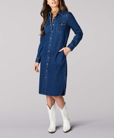 Lee Artisan Blue Vintage Modern Western Denim Midi Shirt Dress - Women