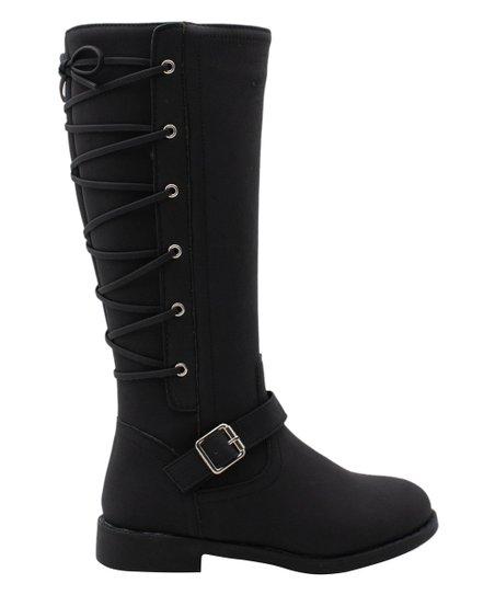 Black Corset-Accent Tall Boot - Girls