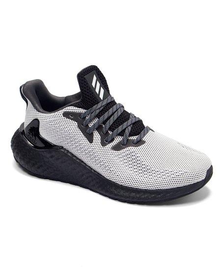 adidas White & Gray Alphaboost Running Shoe - Men