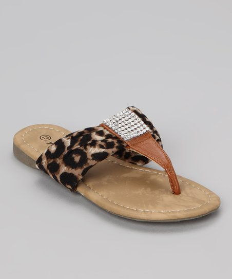 40b49a214e68 Anna Shoes Brown Leopard Beach 48 Sandal | Zulily