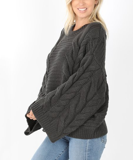 Ash Gray Bell Sleeve Cable Knit Sweater Women