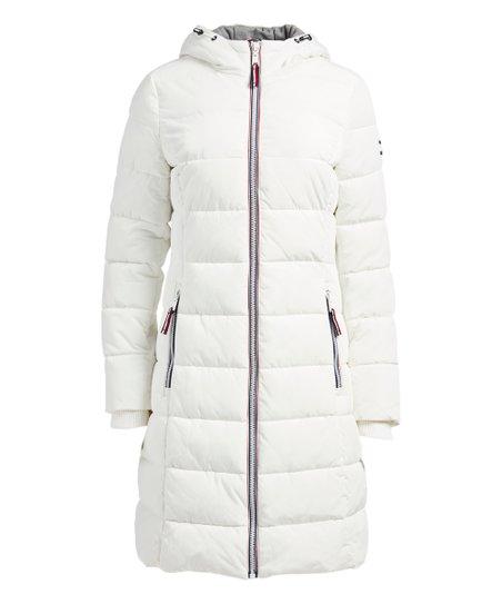 Tommy Hilfiger White Hooded Long Puffer Jacket - Women